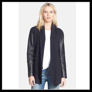 Eileen Fisher Leather Sleeve Lambswool Jacket